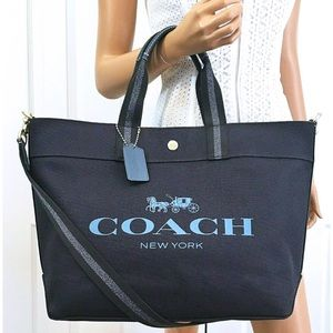 Coach Horse & Carriage Navy Blue Handbag Tote New